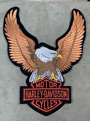 Harley Davidson Up Wing Eagle Brown Patch  13.5 Inch Xxl Retro  Harley Patch Nos