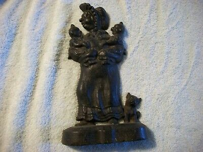 Antique Vintage Cast Iron Woman With Babies Doorstop