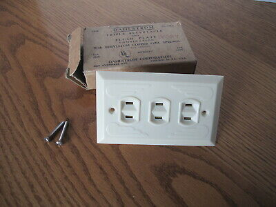 Vintage Bakelite Electric Triple Receptacle & Wall Plate Cover - Art Deco Nos!