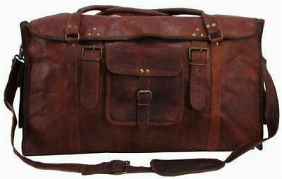 "Vintage 24"" Leather Duffel Travel Gym Sports Overnight Weekender"