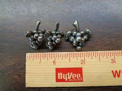 vintage sterling silver mexico grape cluster earring and pin set
