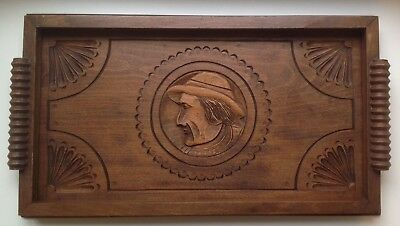 Vintage / Antique (French, Breton) Carved Wooden Tray.