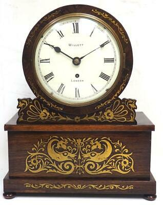Antique London Fusee Library Bracket Mantel Clock Ormolu Inlaid Rosewood 8 Day