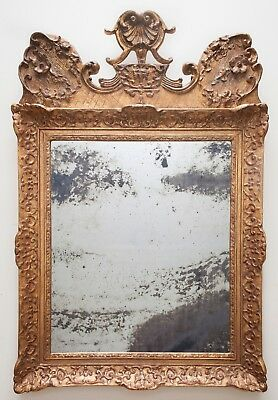 Antique French 19th Century Gilt Mirror, Foxed Glass, Floral Motif