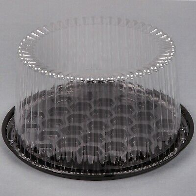 "(10-Pack) 8"" 2-3 Layer Disposable Cake Display Container with Clear Dome Lid"
