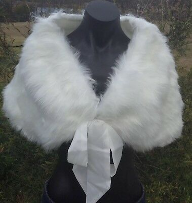NEW Luxury White Faux Fur Stole Formal Evening Wedding Wrap 50s Vintage Look NWT