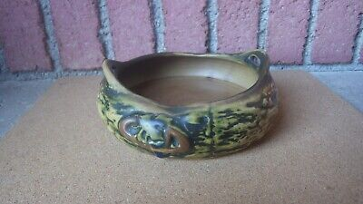 Antique 1921 Roseville Art Pottery Console Bowl Imperial 1 Brown 8 Inch Handles