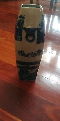 """Oriental Chinese Porcelain Ceramic Vase Blue and White with foo dog lions. 15"""""""