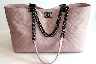 Authentic Chanel Light Pink Quilted Lambskin Double Chain Handle Tote Bag