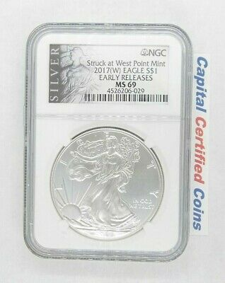 2017-(W) Silver Eagle, NGC MS69, Silver Eagle, Early Releases, NGC Silver Label
