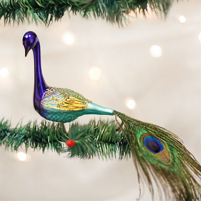 Old World Christmas Magnificent Peacock Bird Glass Clip-On Xmas Ornament 18002