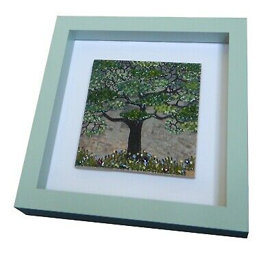 Handmade Original Fused Glass on Ceramic 'Spring Tree'