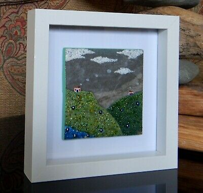 Handmade Original Fused Glass on Ceramic 'Highland Cottage'.