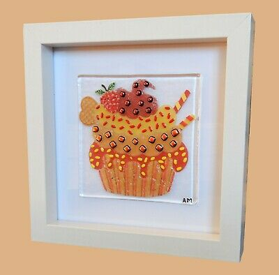Handmade Original Fused Glass 'CUPCAKE' Picture.