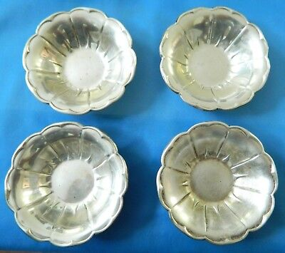 "4 Antique / Vintage plates Solid Sterling Silver G75  3""    93 Grams"