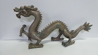 Antique Large Old Chinese Silvered Brass / Bronze Dragon Statue - Estate Lot