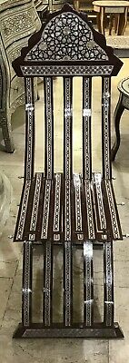 Awesome Moroccan Hand Made Folding Mother Of Pearl Brown Mosaic Inlay Wood Chair