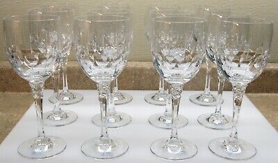 TIARA ☆ by TOWLE ☆ Cut Crystal Glass Water Goblet ☆ Set of 12 Art Deco Design