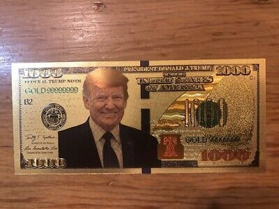 NEW USA Donald Trump President Re-Election Campaign Foil $1000 Dollar Bill