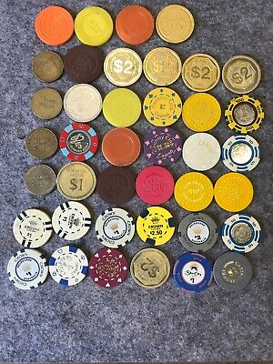 Casino Chip Lot x 40 AUSTRALIAN & PHILLIPINES Gambling Gaming Collectables