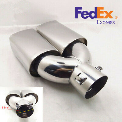 63mm 2.5'' Inlet Stainless Steel Car Rear Tail Dual Exhaust Muffler Tip Pipe -US