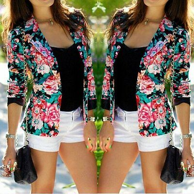 Womens Floral Blazer Coat Casual Cropped Suit Jacket Long Sleeve Slim Fit Tops