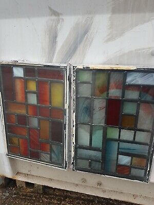 Reclaimed multicoloured Stained Glass window colourful feature interesting art