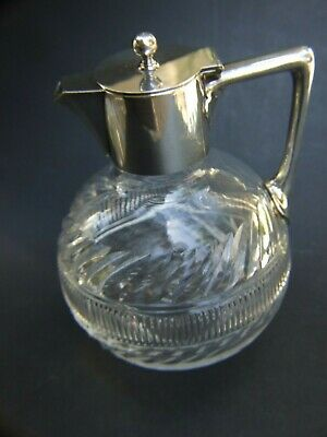 Antique Victorian Crystal Silver Claret Jug Dickson & Sons Sheffield Plate 1900'