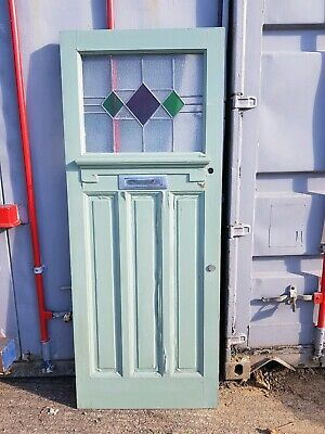 Antique Reclaimed vintage art Deco front door leaded stained glass diamonds