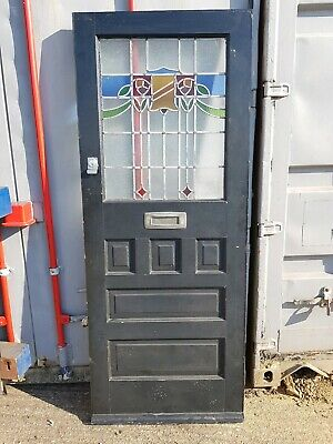 Antique Reclaimed vintage solid wood front door leaded stained glass