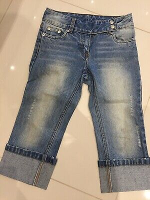 Girls NEXT Light Blue Cropped Distressed Jeans -age 9 Years