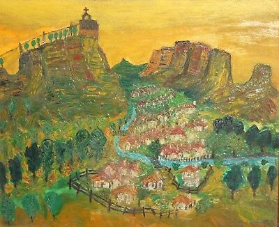 Expressionist Oil Painting village mountain landscape Signed