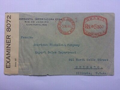 BRAZIL 1941 cover Rio to Chicago with Censor tape and meter marks