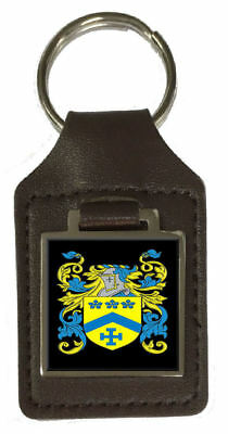 Watson Family Crest Surname Coat Of Arms Brown Leather Keyring Engraved