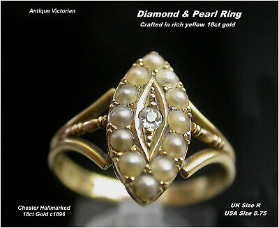 Victorian DIAMOND & PEARL Ring size R 18ct Gold Chester HM c1896 Antique