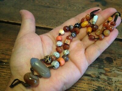 Ancient Beads Necklace Sassanian Agate Seal Suleimani Beads Antique Coral Amber