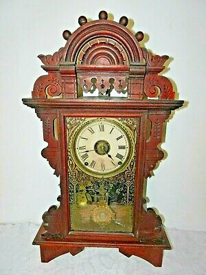 Antique Seth Thomas 8 Day Striking Victorian Parlor Mantle Clock Highly Carved