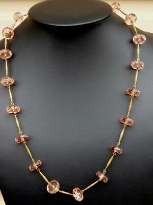 ANTIQUE Edwardian Pink ROCK CRYSTAL Wheel BEADS Brass Bars NECKLACE Stunning