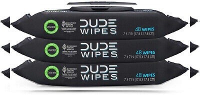DUDE Wipes Flushable Wet Dispenser (3 Packs 48 Wipes), Pack of 3, White