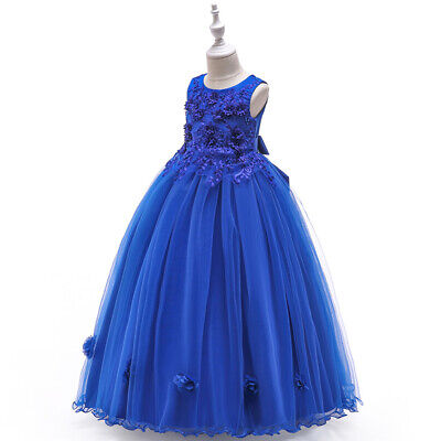 Girls Party Costume Long Dress Lace Flower Party Wedding Bridesmaid Formal Dress