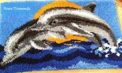 DIY Dolphins playing in the sea Make your own Latch Hook Rug Carpet Crochet new