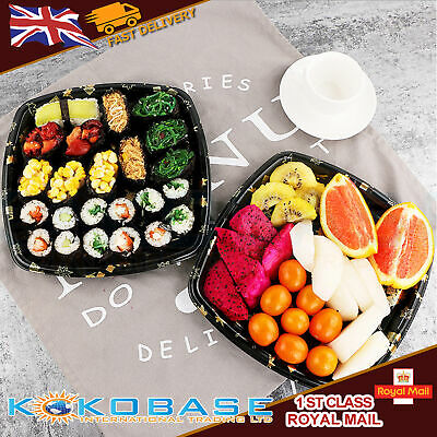 20x Takeaway Sushi Tray / Box With Lids Lunch Box Party (295mm x 295mm x 25mm)
