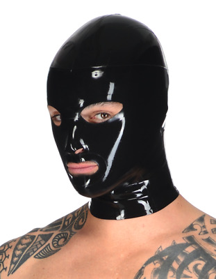 Men's Nightshade Blue Latex Rubber Gummi Full Face Hood by Libidex L/XL