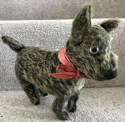 Antique Chiltern Or Similar Terrier Dog Black Grey Tipped Mohair Soft Toy 1920s