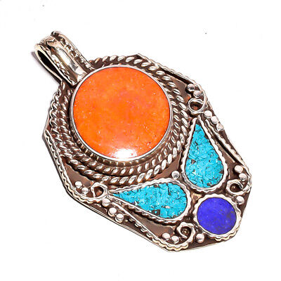 Turquoise Coral Lapis Gemstone Pendant, Tibetan Silver Handcrafted Jewelry TP348