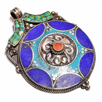 Turquoise Coral Lapis Gemstone Pendant, Tibetan Silver Handcrafted Jewelry TP371