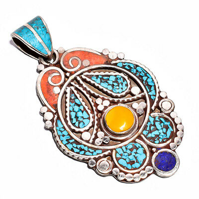 Turquoise Coral Lapis Gemstone Pendant, Tibetan Silver Handcrafted Jewelry TP351