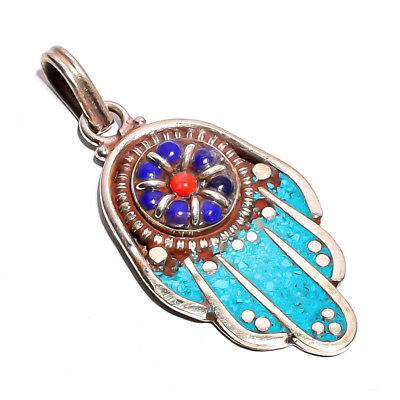 Turquoise Coral Lapis Gemstone Pendant, Tibetan Silver Handcrafted Jewelry TP318