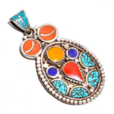 Turquoise Coral Lapis Gemstone Pendant, Tibetan Silver Handcrafted Jewelry TP326