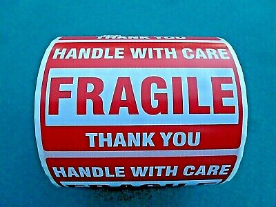 """500 ROLL FRAGILE Handle With Care SELF STICK STICKERS  3"""" x 2"""" Fast Shipper USA"""